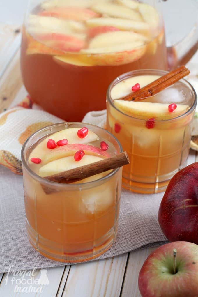 Spiced Pomegranate Apple Cider Sangria | Frugal Foodie Mama