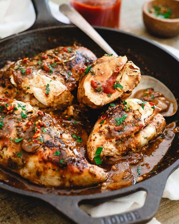Tomato Butter Mozzarella Stuffed Chicken Marsala | Running to the Kitchen
