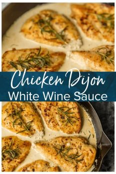 Chicken Dijon with White Wine Sauce is an easy ONE PAN meal with so much flavor! The Dijon Chicken in white win sauce is so juicy and moist and smothered in the most amazing sauce. Nothing is better than White Wine Chicken with Dijon. It's an awesome Date Night meal for any day of the week. Chicken Dijon for the win!