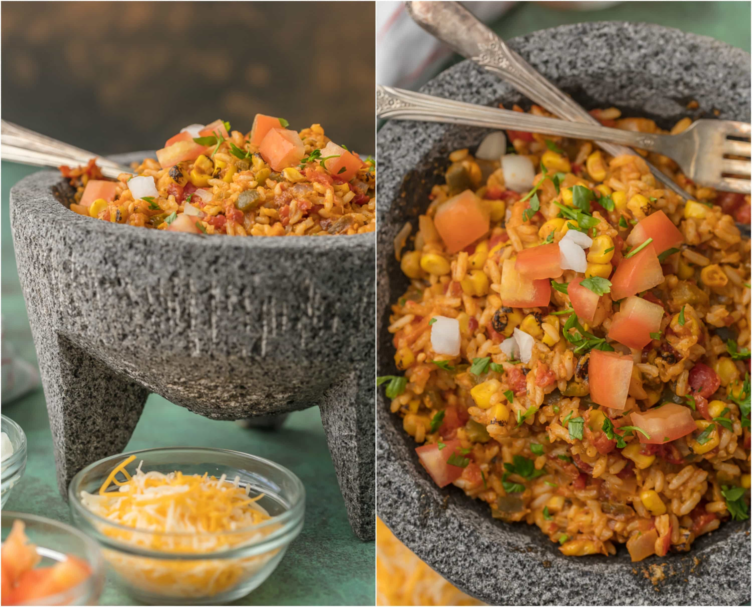 This EASY CHEESY TEX MEX RICE is our favorite Mexican side dish! We are obsessed with this cheesy rice loaded with all the best ingredients.