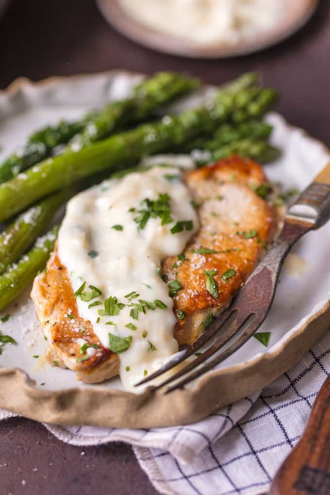Parmesan Garlic Pork Chops with cream sauce