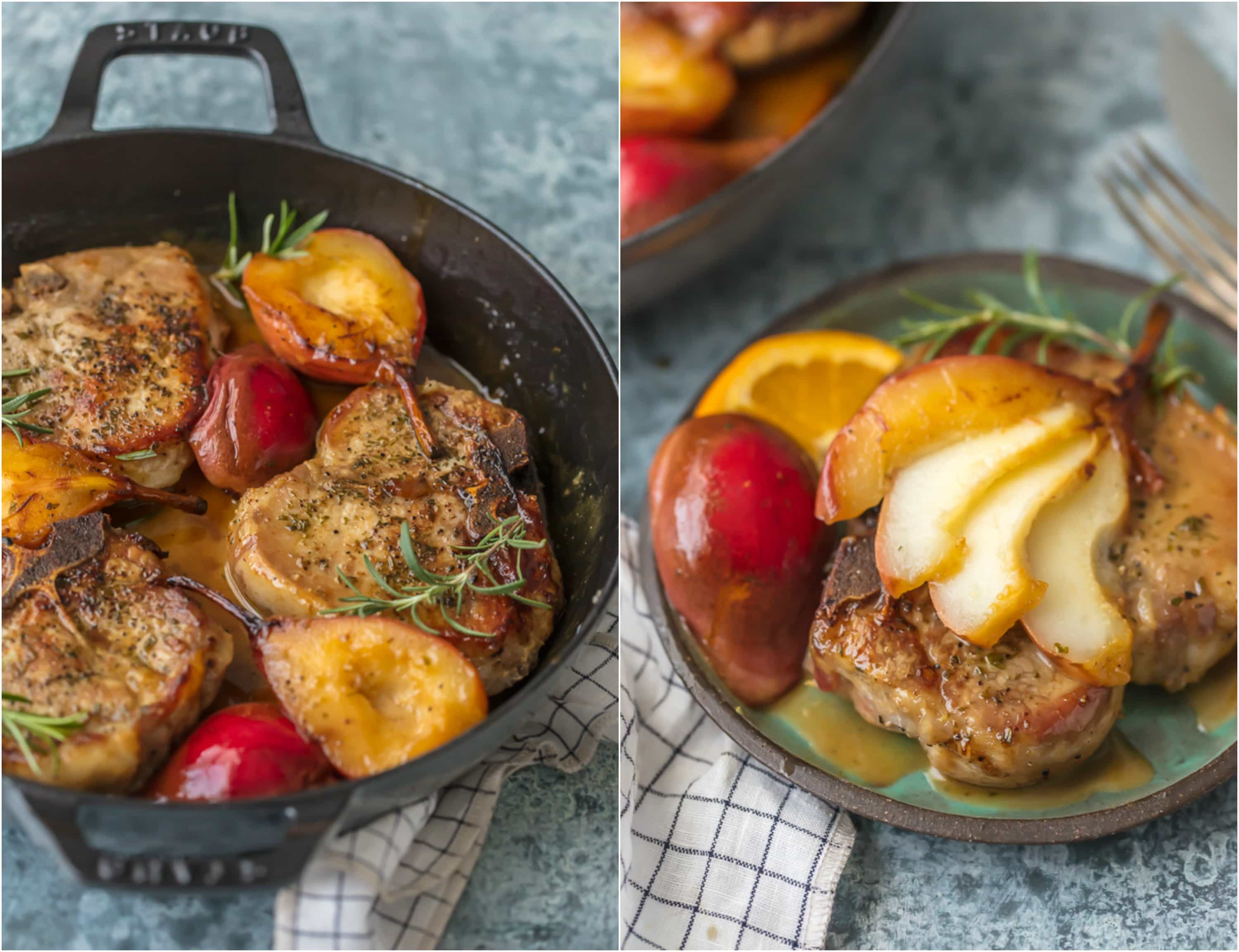 Honey Pork Chops with Pears and Bourbon in skillet and on plate