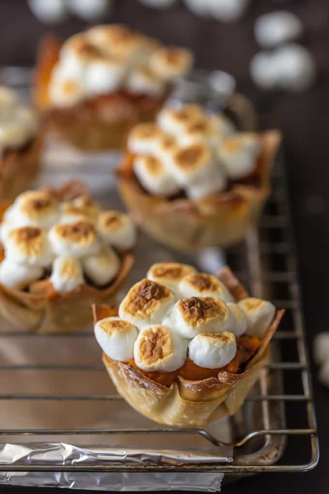 Sweet Potato Souffle cups on a baking rack