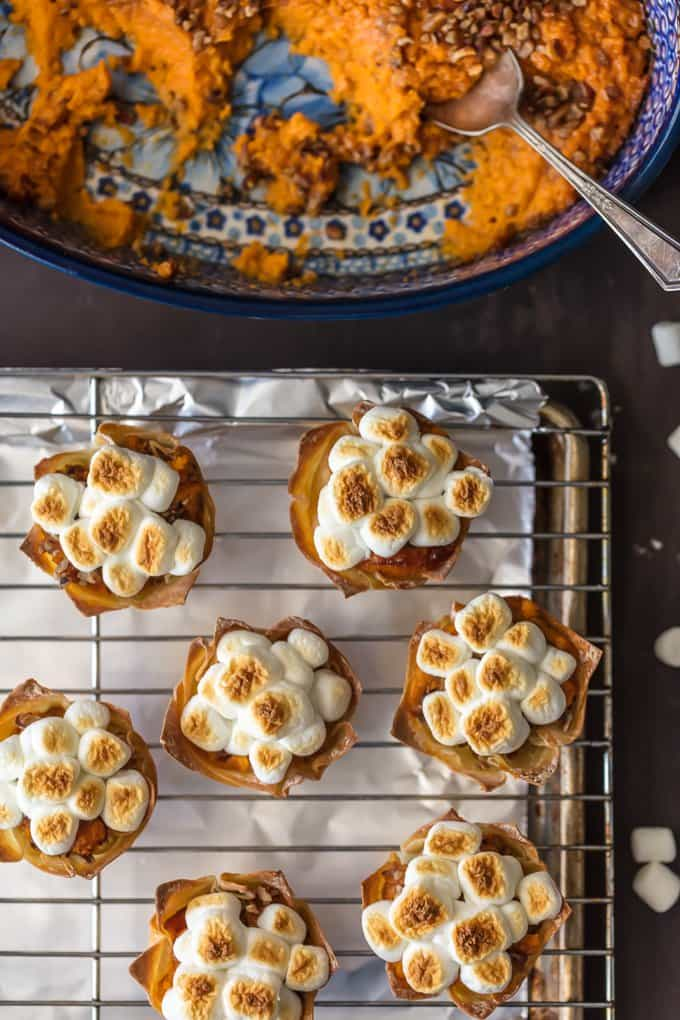 Mini Sweet Potato Souffle Cups topped with toasted marshmallows