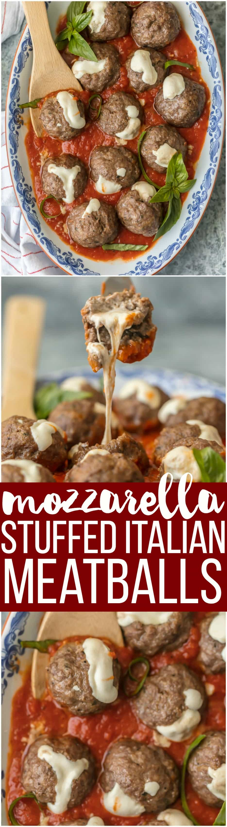 These MOZZARELLA STUFFED ITALIAN MEATBALLS are the ultimate appetizer. Stuffed with whole milk mozzarella and oh so juicy and tender, you better make a double batch.