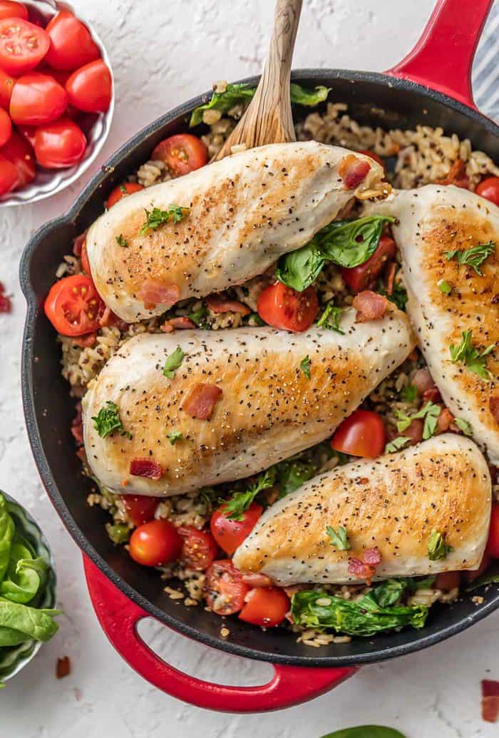Skillet BLT Chicken and Rice | The Cookie Rookie