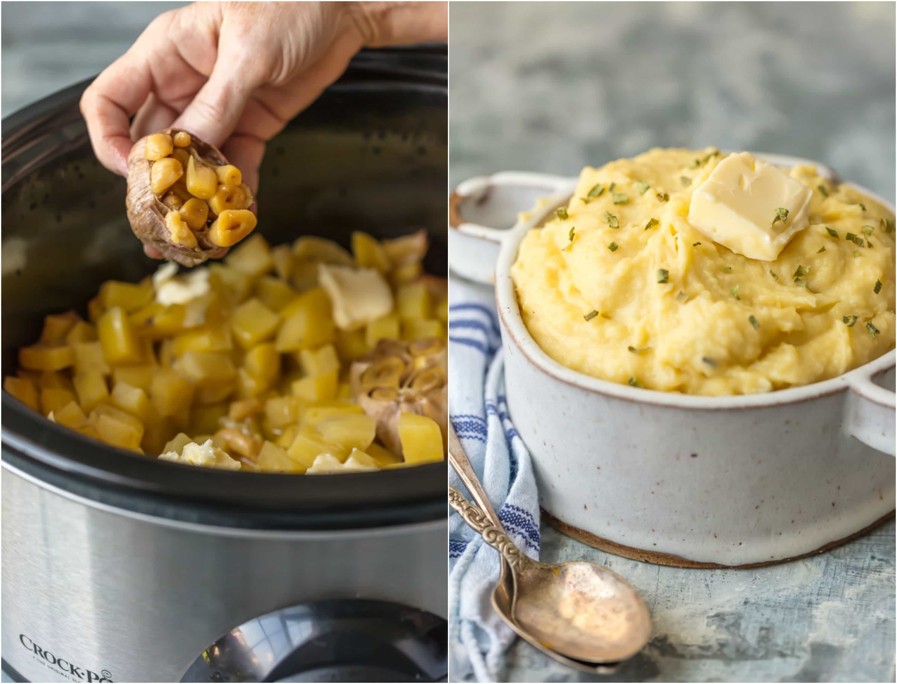 These SLOW COOKER GARLIC BUTTER MASHED POTATOES are the perfect EASY Thanksgiving side dish. So much flavor and none of the fuss.