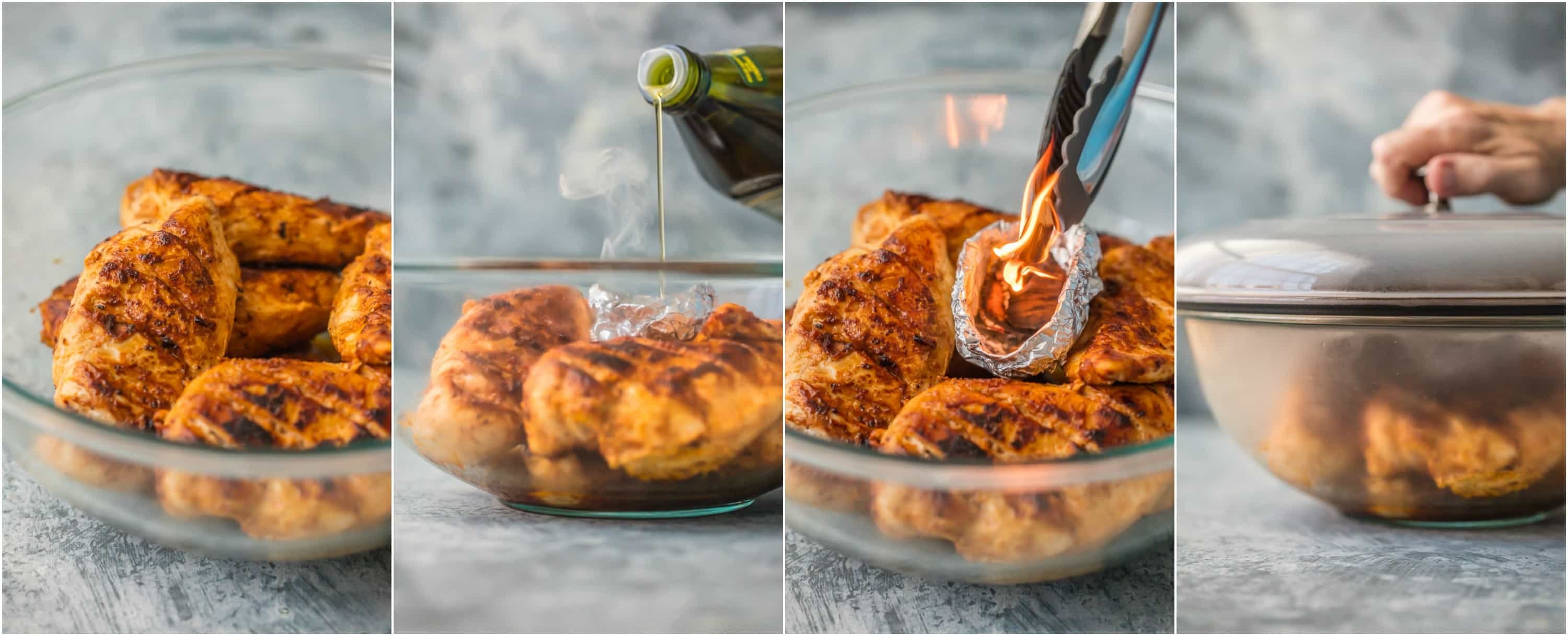 photo collage of chicken tandoori being smoked