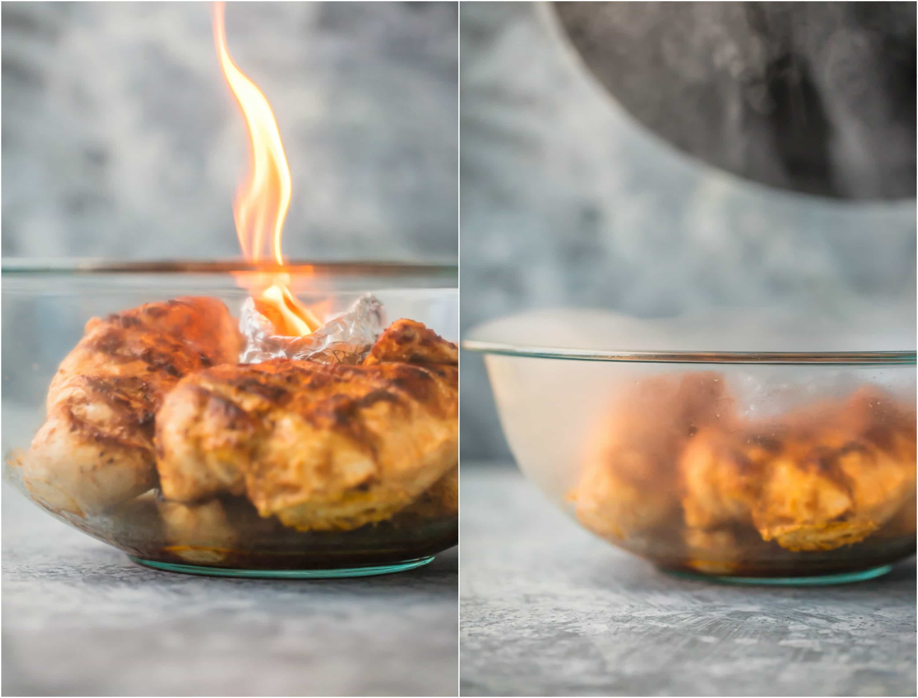 Tandoori Chicken in a bowl with fire