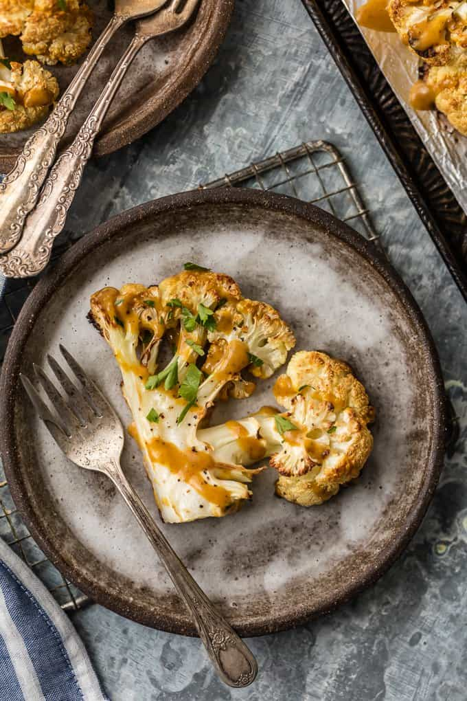Roasted Cauliflower Steak on a small plate