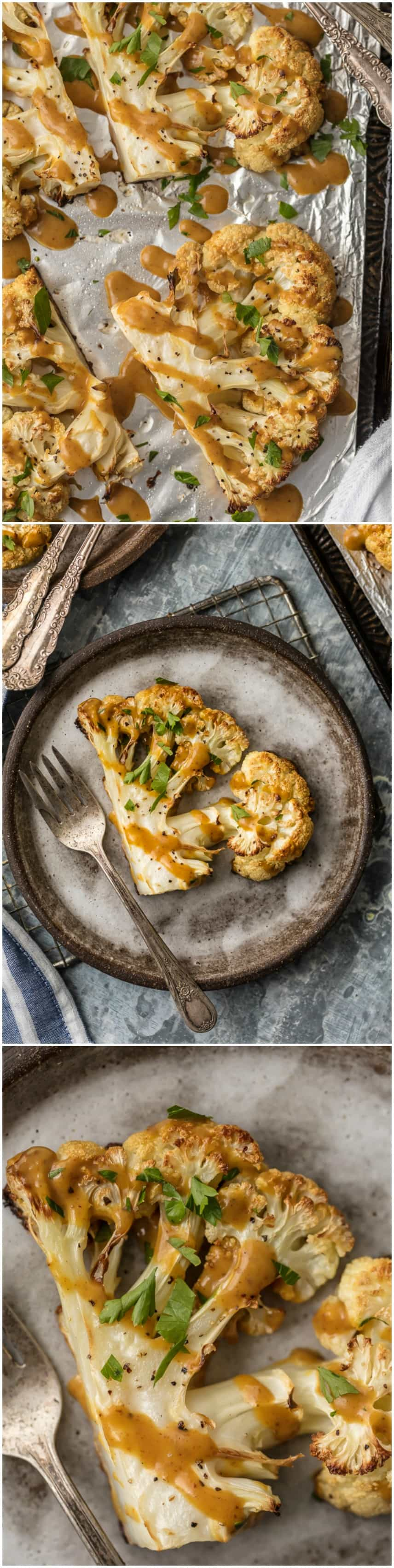These THAI PEANUT CAULIFLOWER STEAKS are just the right amount of creamy, spicy, and tasty. This easy vegetarian meal or side is always a hit. SO MUCH FLAVOR!