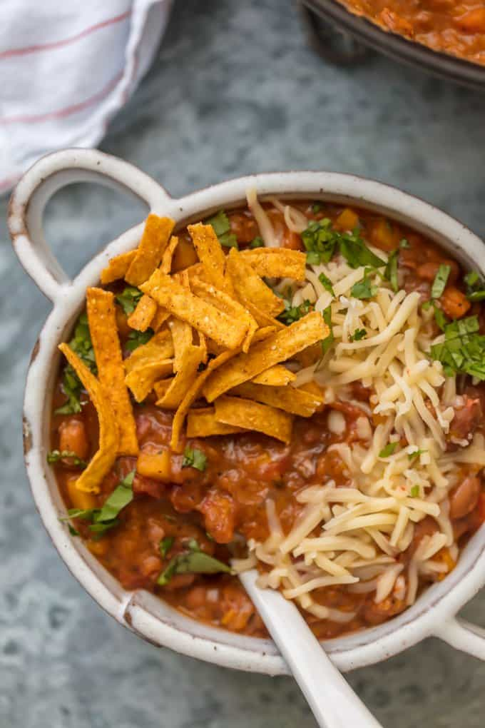 Best Vegetarian Chili recipe in a white bowl