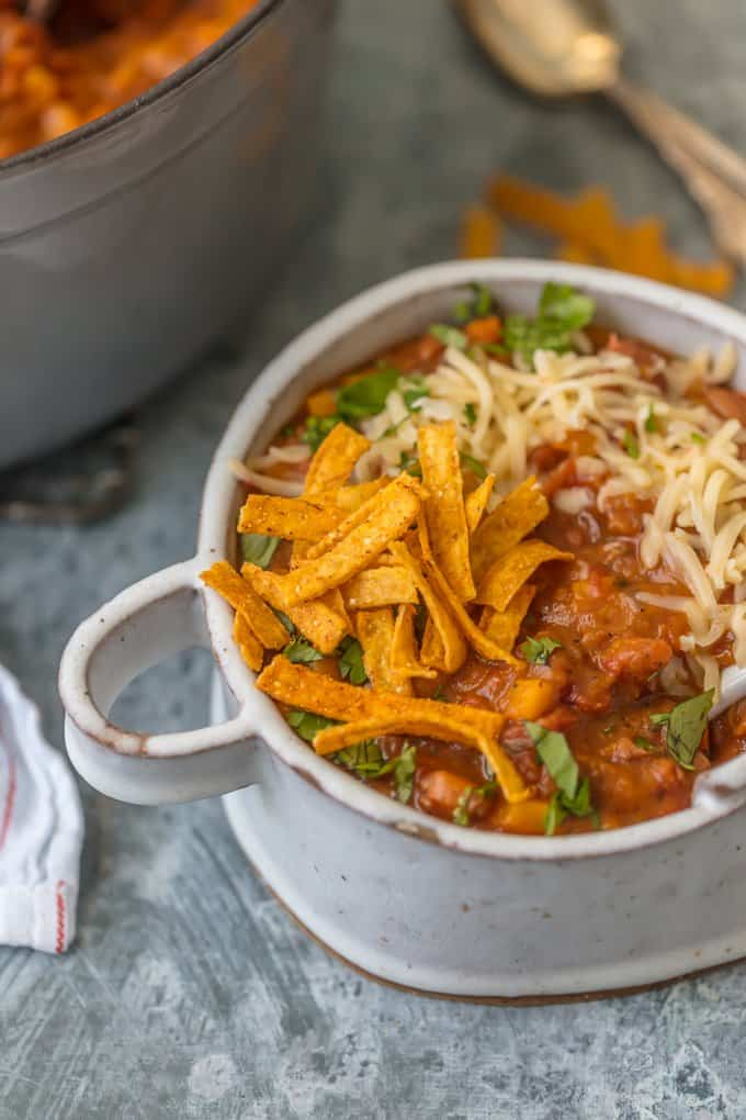Vegan chili in a white bowl