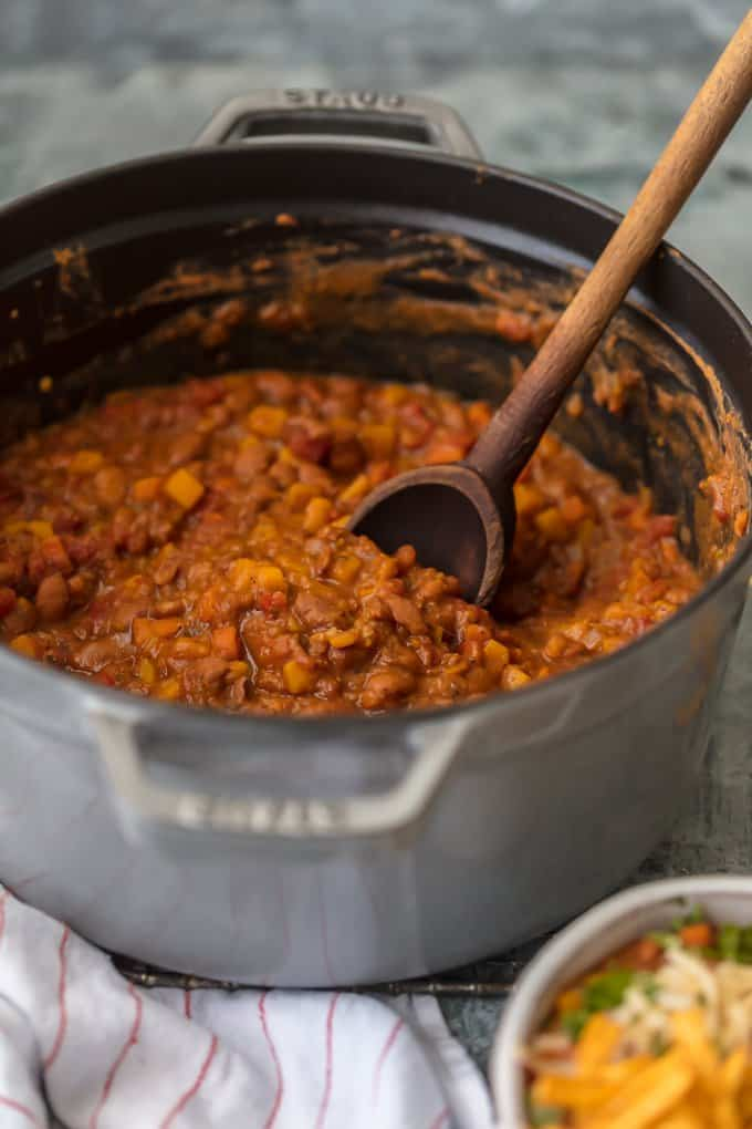 Easy Vegan Chili recipe is a large pot