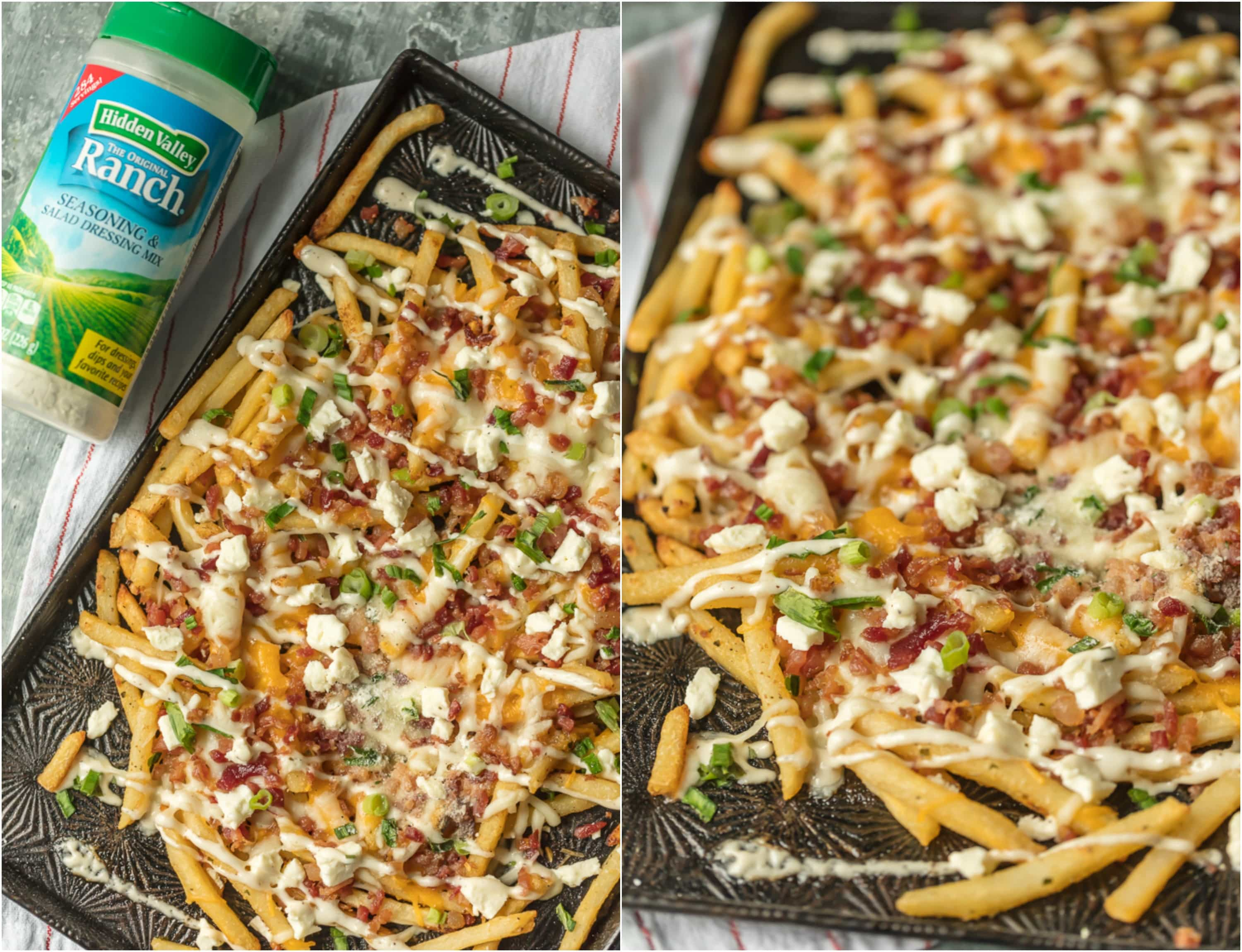 Bacon Cheese Fries with Ranch are my  go-to party food. This Cheese Fries Recipe is sure to make game day easy and delicious! This easy and fun appetizer takes crispy fries and tops them with ranch seasoning, bacon, cheddar, mozzarella, and feta. 3 Cheese Fries with Bacon and Ranch for the WIN!