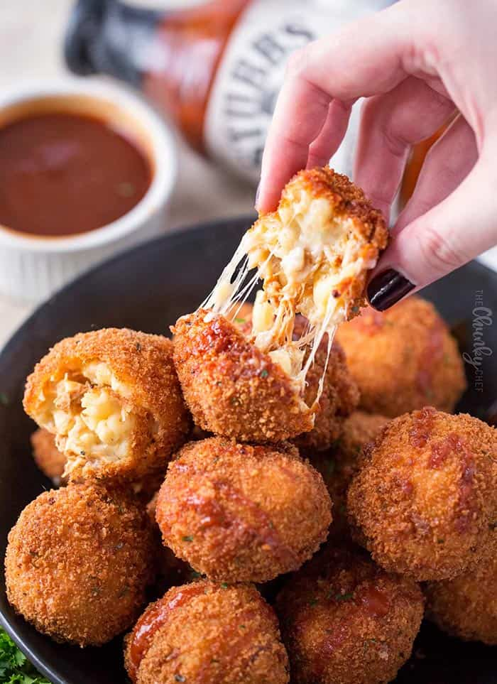 BBQ Pulled Pork Fried Mac and Cheese Bites | The Chunky Chef