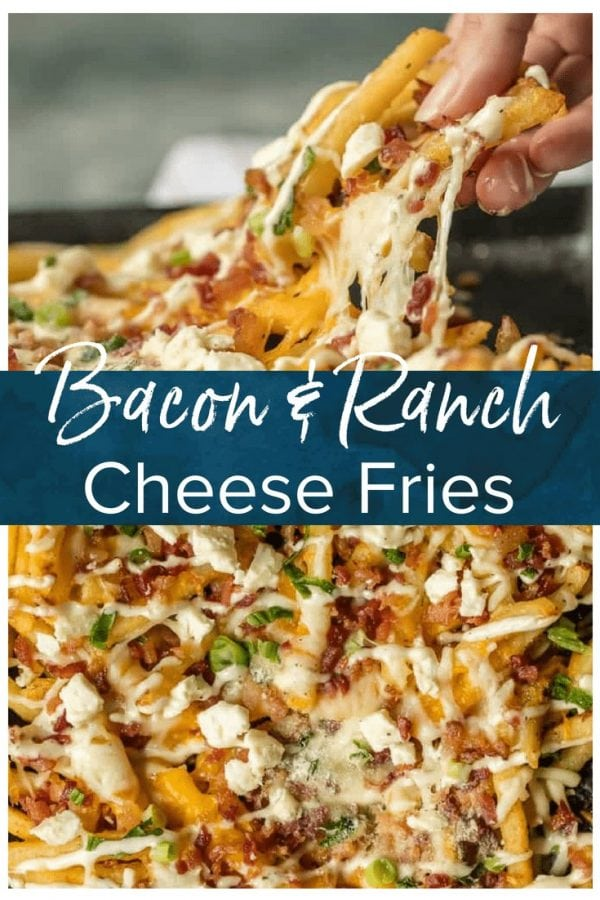 Nothing makes game day delicious more than 3 CHEESE BACON RANCH FRIES. This easy and fun appetizer takes crispy fries and tops them with ranch seasoning, bacon, cheddar, mozzarella, and feta.