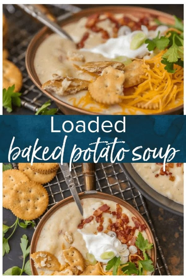 It doesn't get more comforting than LOADED BAKED POTATO SOUP. Creamy hearty soup loaded with bacon, potatoes, cheese, sour cream, and so much more. Warms the soul.