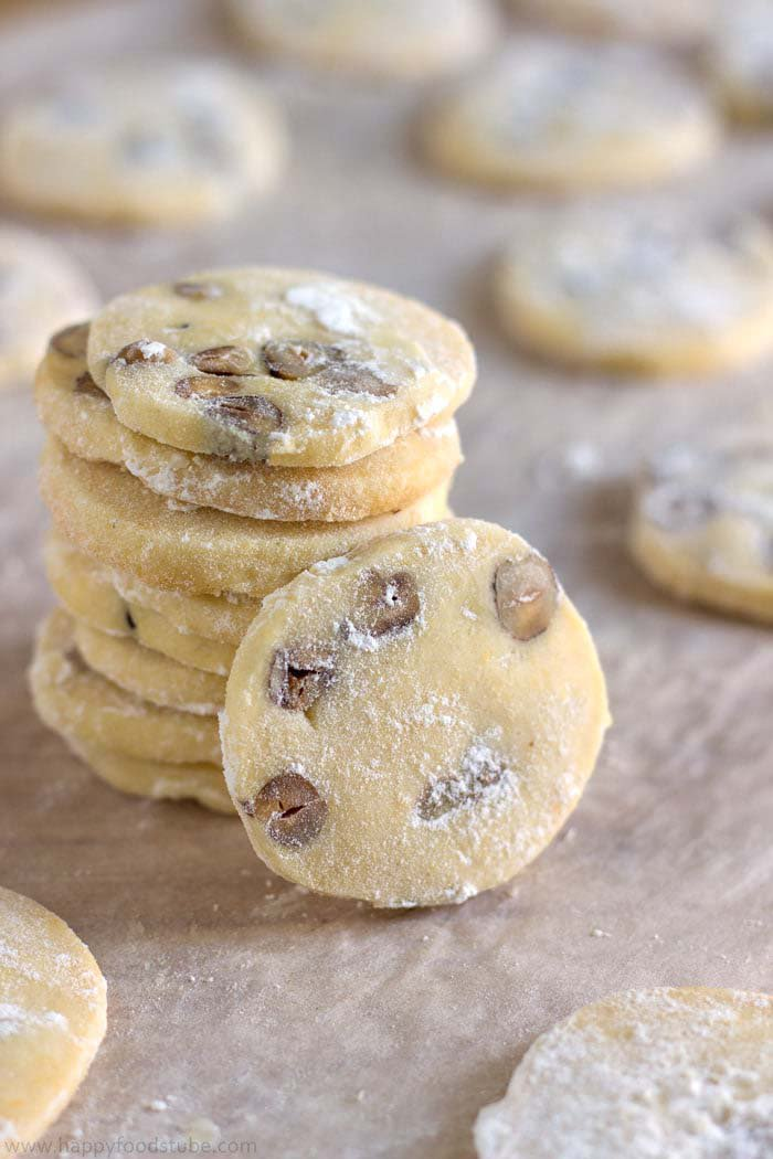 stack of butter Cookies with Hazelnuts