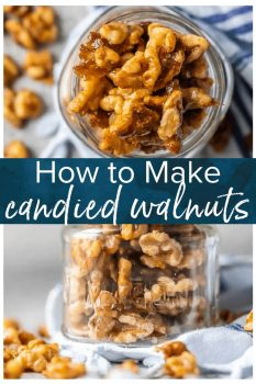 These Easy Candied Walnuts are awesome for holiday appetizers, baking, snacking, and so much more. Made in under 5 minutes and oh so tasty!