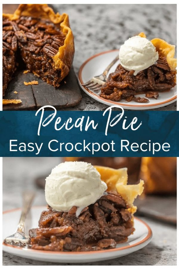 This CROCK POT PECAN PIE will knock your socks off and make for a delicious and easy Thanksgiving, Christmas, or Easter! We LOVE Pecan Pie and it's just as delicious made in a slow cooker!