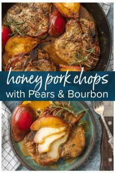 We are obsessed with these HONEY BOURBON PEAR PORK CHOPS! They are herb crusted and the perfect mix of savory and sweet. The best kind of Fall comfort food!