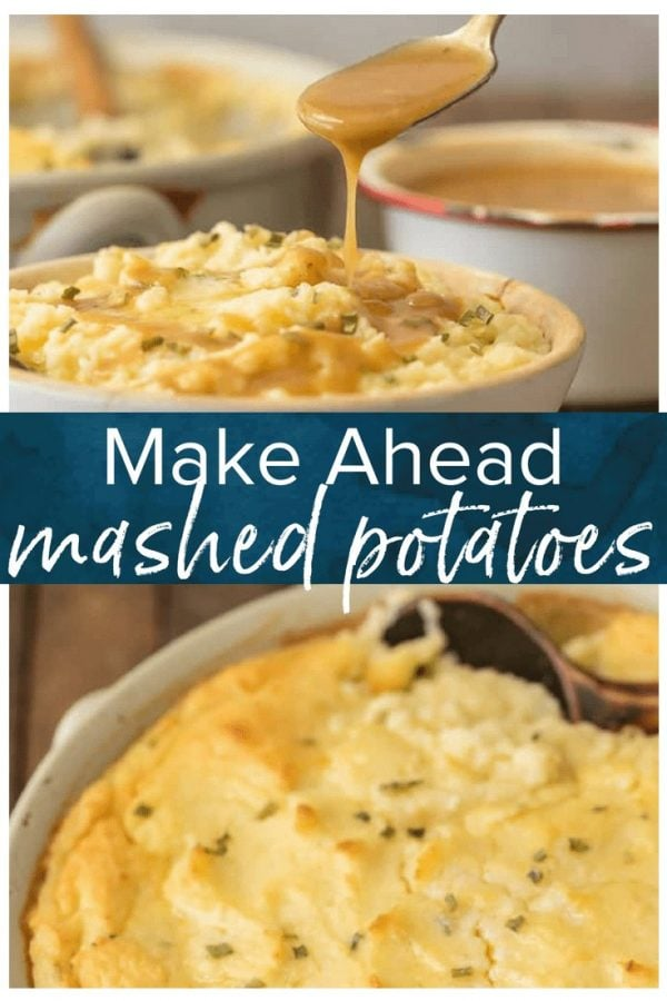 Make the holidays easy with MAKE AHEAD MASHED POTATOES! This creamy dreamy mashed potato casserole is SO SIMPLE so you don't have to be trapped in the kitchen this Thanksgiving.