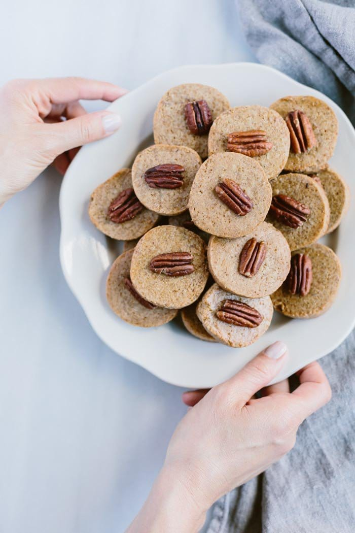 plate of Naturally Sweetened Pecan Shortbread Cookies