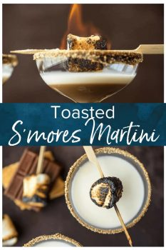 This TOASTED S'MORE MARTINI is as delicious as it is beautiful. With layers of cream, marshmallow vodka, and chocolate liqueur all you need is a graham cracker rim! So fun and festive for Fall.