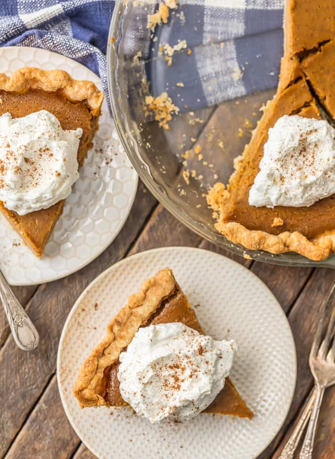 slices of pumpkin pie on plates, next to a pie dish