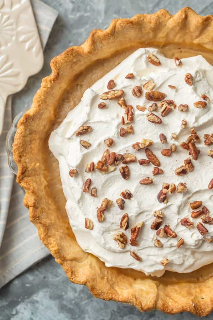 CLASSIC BUTTERSCOTCH PIE is the most decadent dessert you'll have on your holiday table. This pie is so rich and amazing everyone will be asking for the recipe. Perfect for easy Thanksgiving and Christmas baking!