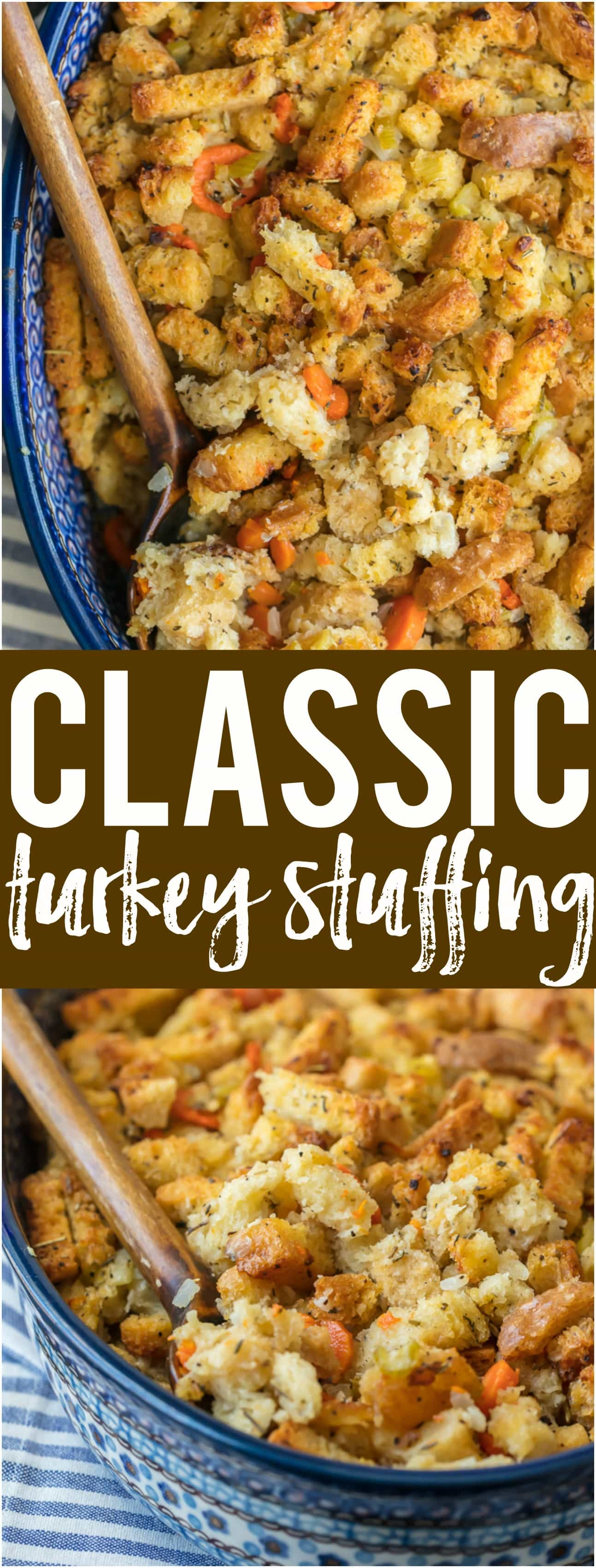 CLASSIC TURKEY STUFFING is a must make for Thanksgiving and Christmas! You cannot go wrong with this classic dressing during the holidays. So much flavor, crunch, and goodness.