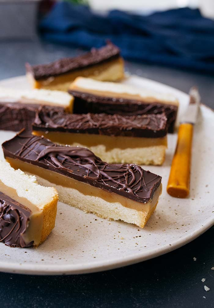 white plate of Chocolate Caramel Cookie Bars