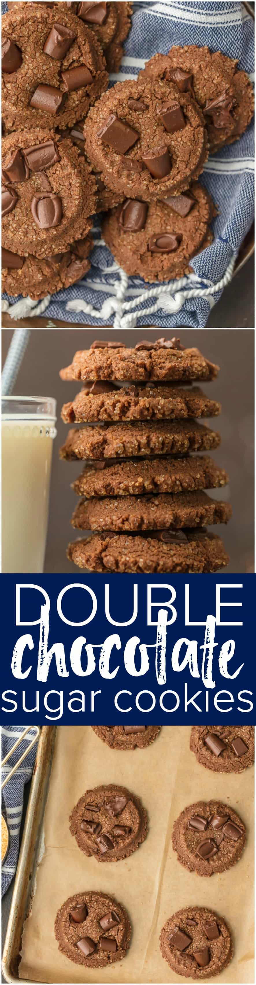 These FLUFFY DOUBLE CHOCOLATE SUGAR COOKIES are to die for. Baking the perfect Christmas cookie has never been so easy. The more chocolate chunks the better!