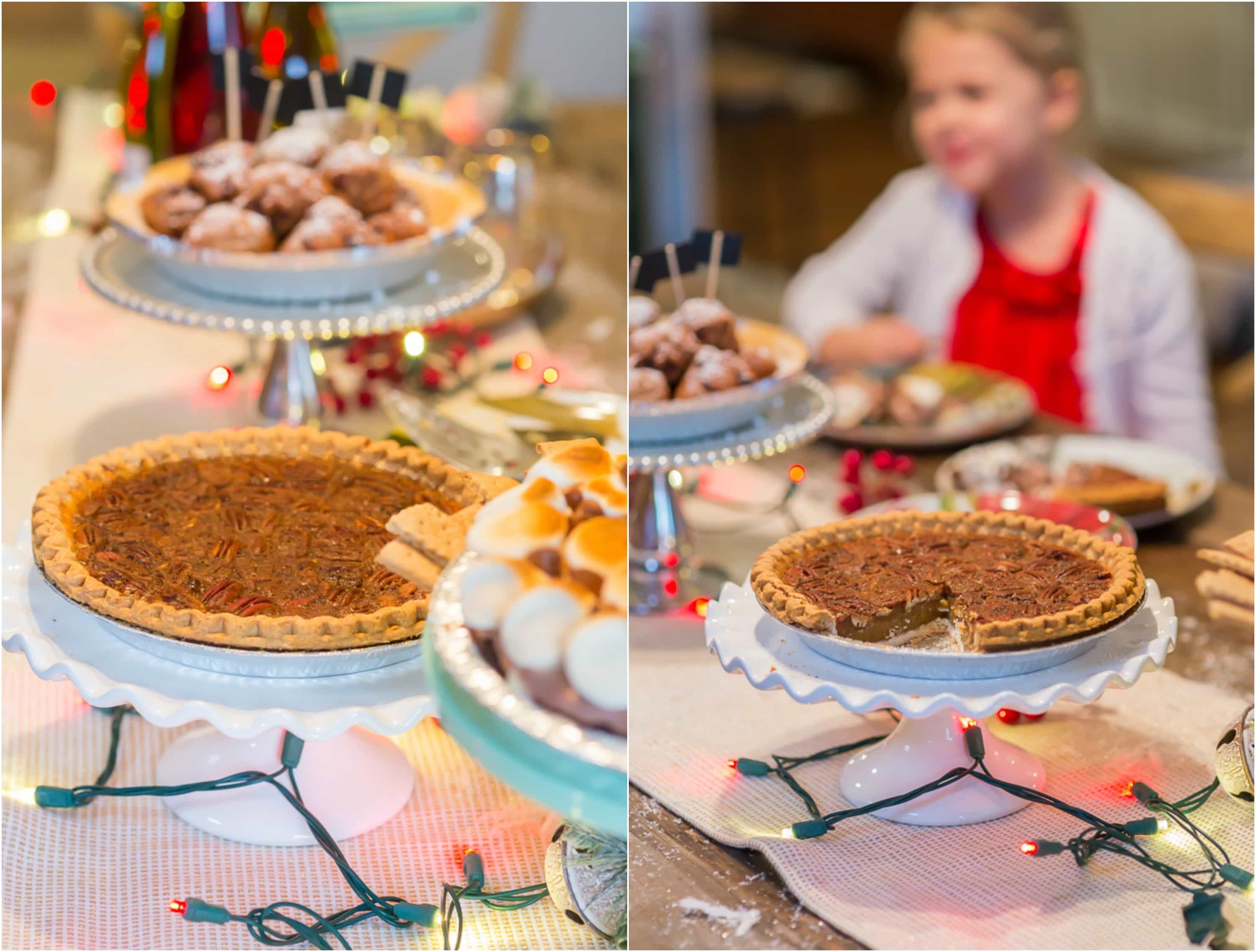 photo collage of Edward's pecan pie being served at a holiday pie party