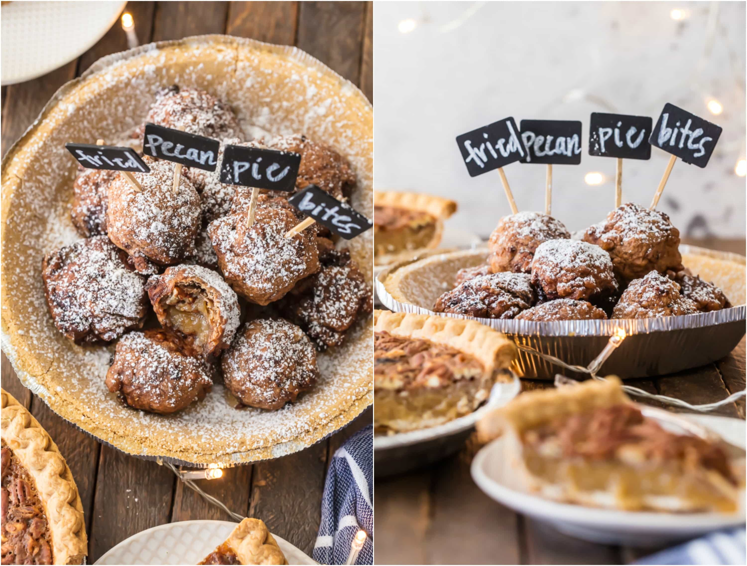 Fried pecan pie bites made from an Edward's pecan pie sitting in a pie crust