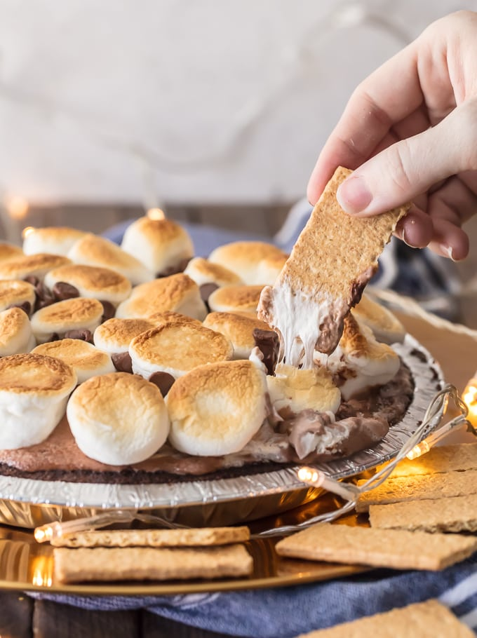S'mores dip made out of an Edward's chocolate cream pie