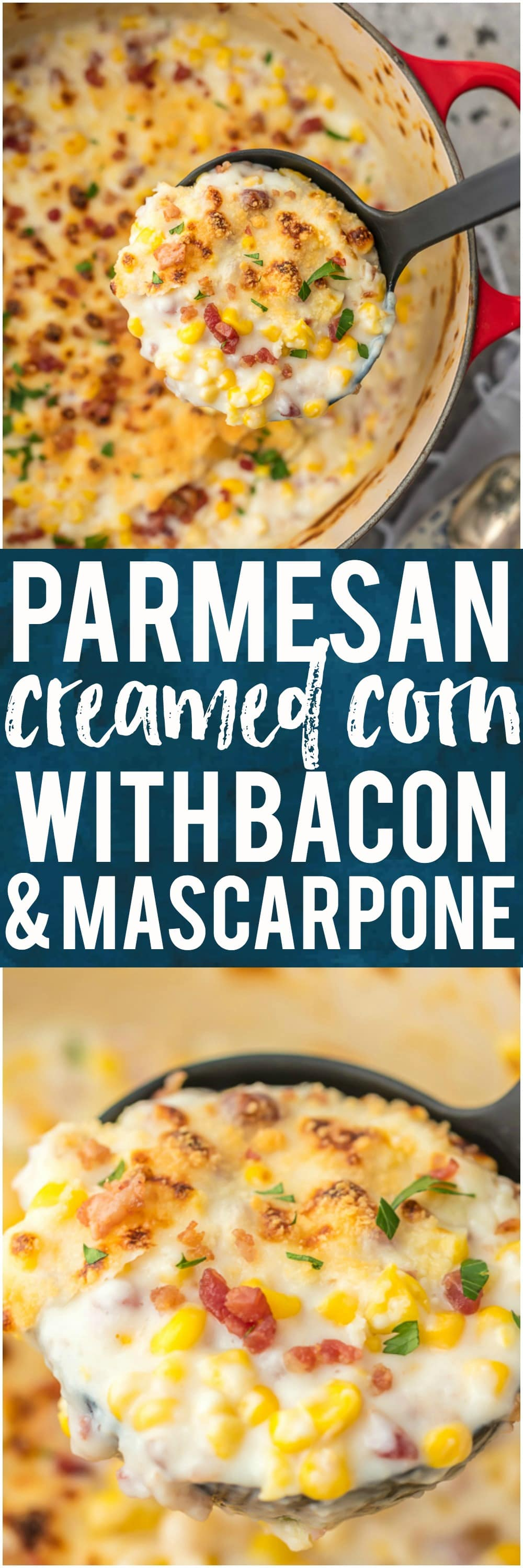 This PARMESAN CREAMED CORN WITH BACON AND MASCARPONE is one of our favorite holiday side dish recipes. If you're looking for a fabulous and unique gluten free Thanksgiving or Christmas recipe, this is it!