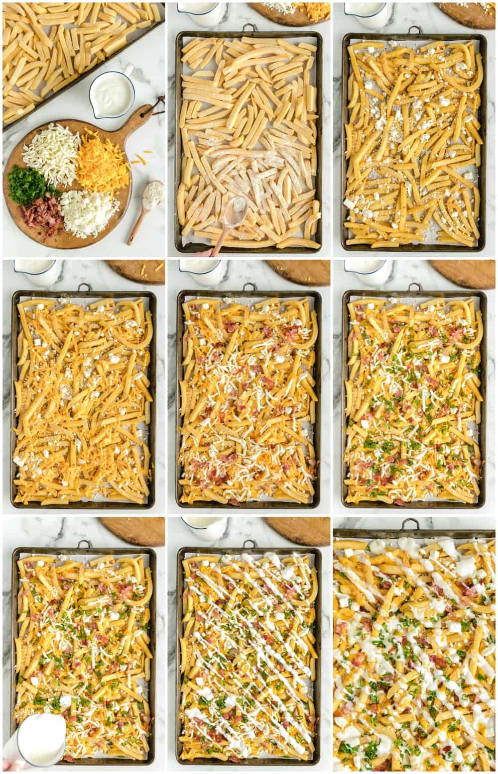how to make bacon ranch cheese fries: step by step process shot photos of making cheese fries