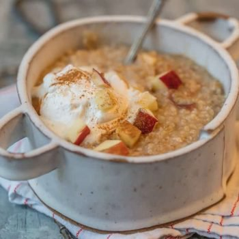 INSTANT POT OATMEAL is so easy to make, so it's perfect for busy mornings. This Instant Pot Apple Pie Oatmeal is made in under 10 minutes, making mornings easy and delicious! Top this tasty apple oatmeal with some fresh whipped cream for an extra special treat. It tastes just like Apple Pie in breakfast form!