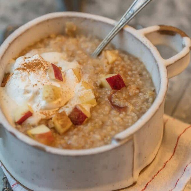 This INSTANT POT APPLE PIE OATMEAL is made in under 10 minutes and is making mornings easy and delicious! Top with some fresh whipped cream for an extra special treat.