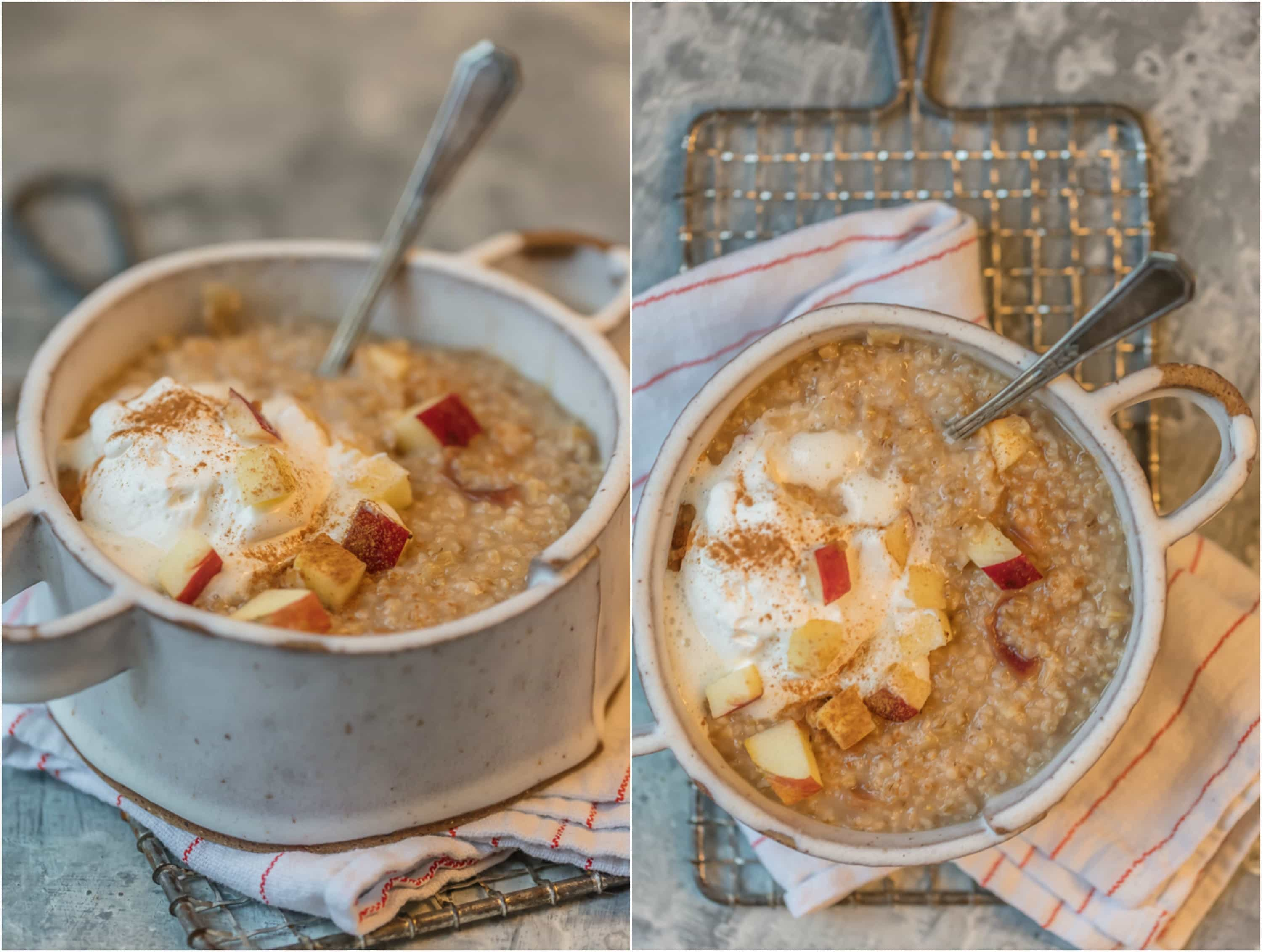Apple Pie Oatmeal in a white bowl
