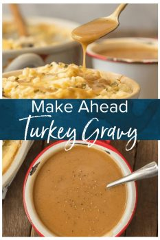 MAKE AHEAD TURKEY GRAVY is an absolute must for an easy and stress free Thanksgiving! YES It's possible to make Turkey Gravy without drippings and YES you can make it ahead of the big day. Once we learned How to Make Turkey Gravy we have never gone back to store-bought. This Make Ahead Easy Gravy Recipe is genius.