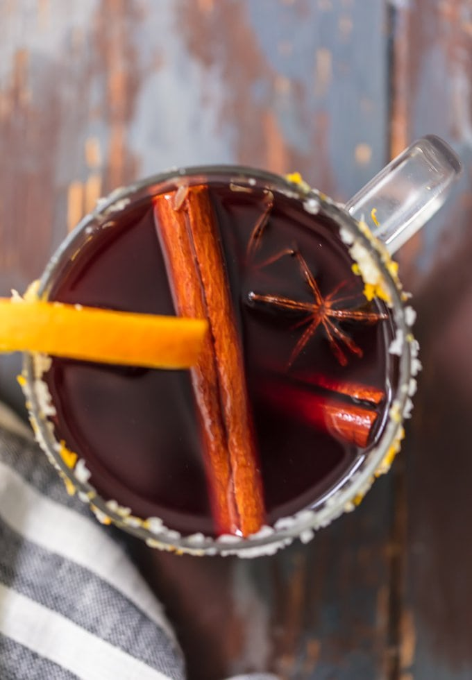 overhead photo of spiced WINE MARGARITA, garnished with a cinnamon stick and star anise