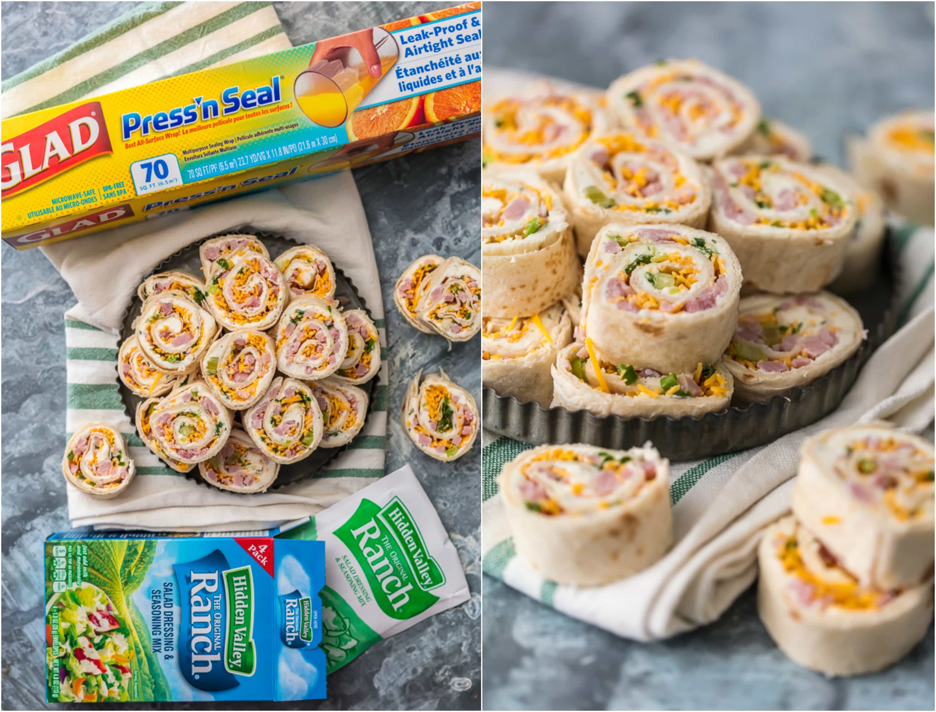 photo collage of HAM AND CHEESE RANCH ROLL UPS