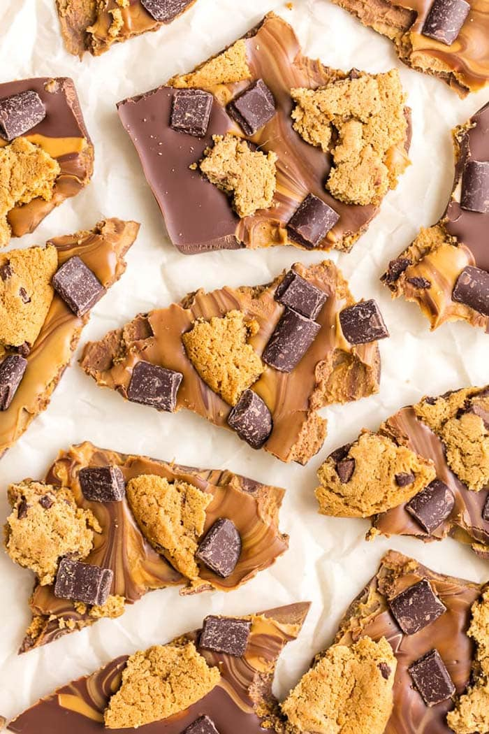 Peanut Butter Chocolate Chip Cookie Bark on white parchment paper