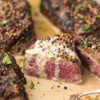 Skillet Steak with Peppercorns and Brandy Cream Sauce