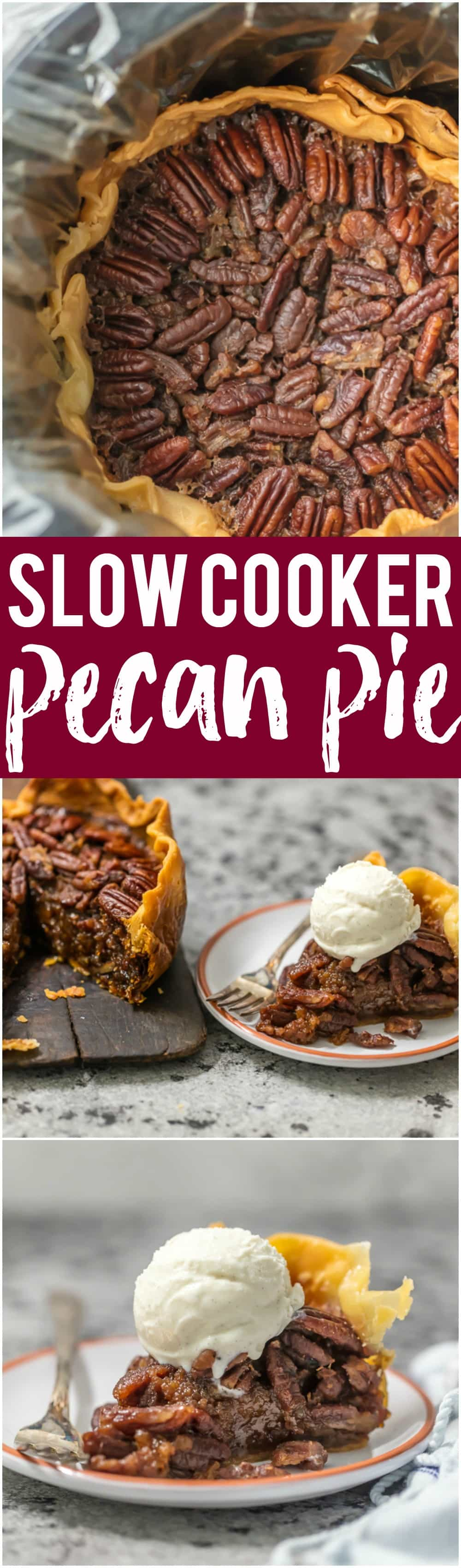 This SLOW COOKER PECAN PIE will knock your socks off and make for a delicious and easy Thanksgiving, Christmas, or Easter! We LOVE Pecan Pie and it's just as delicious made in a crockpot!