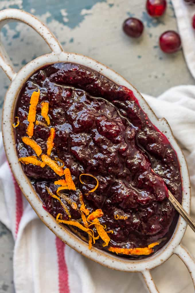 Homemade Cranberry Sauce with Orange Liqueur in a serving dish
