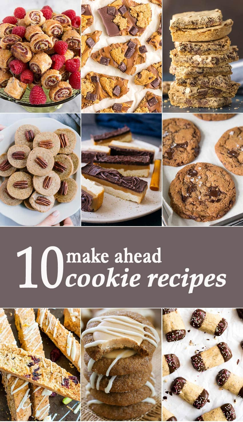 10 Make Ahead Cookie Recipes titled photo collage